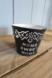 Sfeerlichtje van metaal, Home Sweet Home zwart