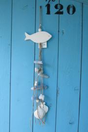 Vis met decoratie, blauw/wit