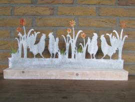 Kippen decoratie metaal/hout 55 cm