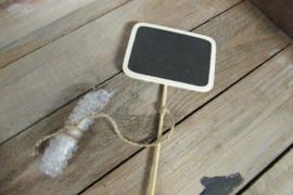 Krijtbordje rechthoek 8 cm op stokje