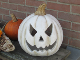 Halloween windlicht pompoen wit 40 cm ( alleen af te halen)