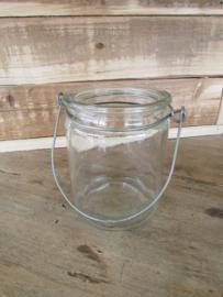 Windlichtje van glas 10 cm