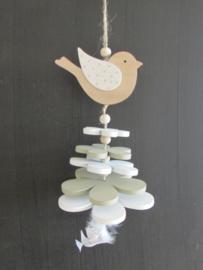 Vogel decoratie van hout, naturel / zacht groen