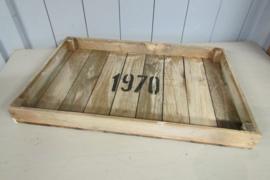 Dienblad van hout en van gebruikt hout 57x37 cm