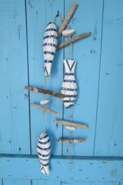 Vissen guirlande/slinger  1.10 cm wit/blauw