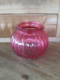 Sfeerlichtje/vaasje van glas, roze