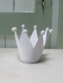 Kroon windlichtje van metaal, 11 cm in het wit