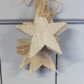 houten ster naturel 10cm
