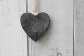 Hart donker grijs 7 cm
