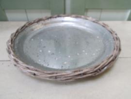 Onderbord 31 cm zink met rieten rand
