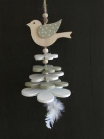 Vogel decoratie van hout, naturel /groen