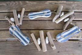 Slipper guirlande blauw/wit
