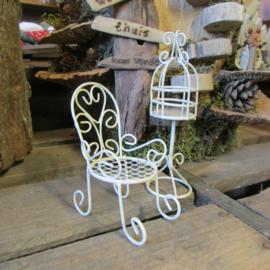 Vogelkooi en stoel voor mini garden