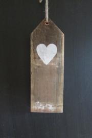 Houten decoratie met hartje 28 cm