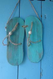 Slippers 23 cm turquoise/groen