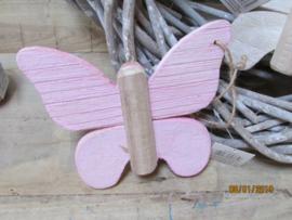Vlinder 17 cm roze