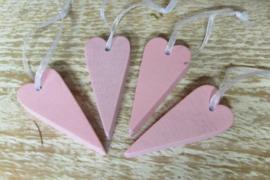 4 hartjes van 6 cm roze