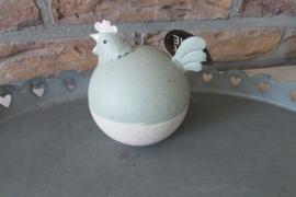 Kip van metaal,  groen/ecru 11 cm