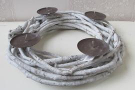 Adventskrans 40 cm grijs/wit