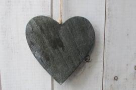 Hart 15 cm donker grijs