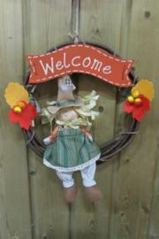 Krans  met meisje en bordje 'welcome'