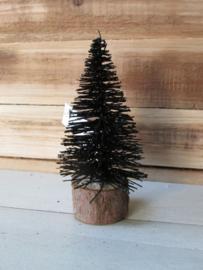 Kerstboompje zwart met glitter op een schijfje 14 cm hoog