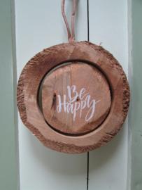 Tekstbordje van hout, Be Happy