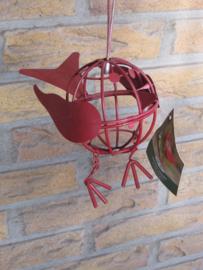 Vetbolhouder voor vogels. rood