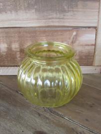 Sfeerlichtje/vaasje van glas, geel  9 cm