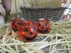 Halloween windlichtje, pompoen, glas klein (7,5cm)