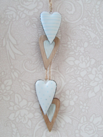 Hangdecoratie hartjes l.blauw naturel