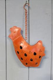 Kip 33 cm van metaal rood/oranje