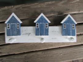 Kapstokje van hout met huisjes, blauw/wit  35 cm