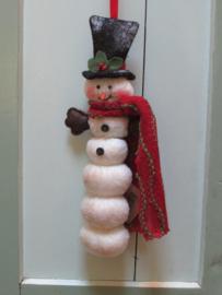 Sneeuwman om te hangen 28 cm, van stof