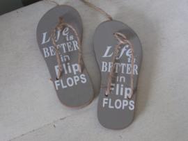"""Slippers """"life is better in flip flops"""" grijs  11,5 cm"""