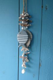Guirlande vis 3 x blauw/grijs en taupe