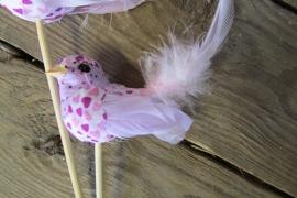 Vogeltje op steker lila per 2