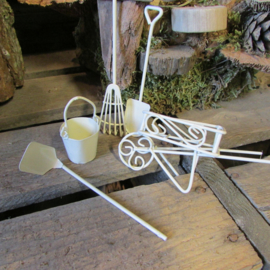 Tuingereedschap,kruiwagen, emmertje voor mini garden