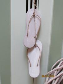 Slippers voor decoratie per paar, 20 cm  wit