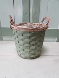 Mandje/bloempot groen/naturel 20 cm