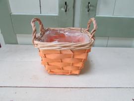 Mandje oranje/naturel  14 cm vierkant