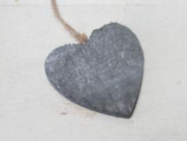 Hart van hout 7 cm, grijs