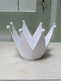 Kroon windlichtje van metaal in het wit 15 cm