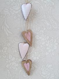 Hangdecoratie hartjes roze/naturel