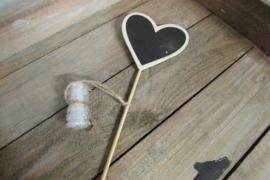 Krijtbordje hart op stokje  8 cm