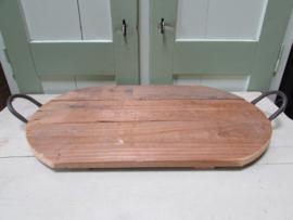 Dienblad van hout met metalen handvaten 49x29 cm