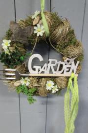 Krans van stro/hooi 30 cm met decoratie (garden)