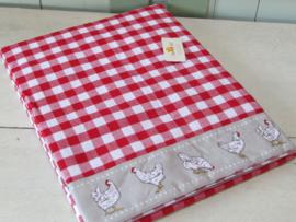 Tafelkleed 1.30x1.80 Little Chicken rood/geruit