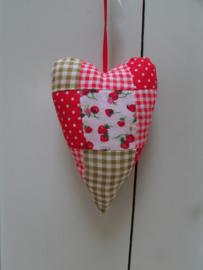Hartje van stof rood/wit en aardbeitjes 14 cm