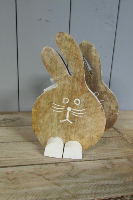 Haas/konijn van hout 18,5 cm. naturel